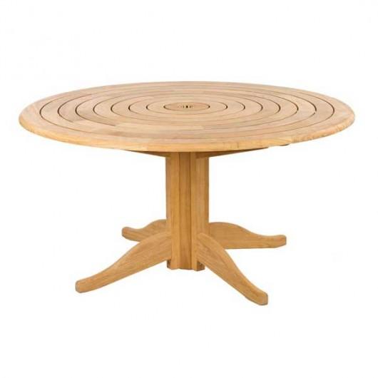 Roble teak τραπέζι στρογγυλό με ομόκεντρους κύκλους Ø145cm σταθερή βάση