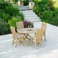 Roble teak Ξύλινη σταθερή πολυθρόνα κήπου με ψηλή πλάτη