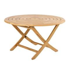 Roble teak τραπέζι στρογγυλό με ομόκεντρους κύκλους Ø130cm πτυσσόμενο
