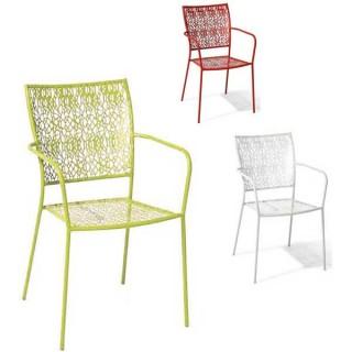 Soneto πολυθρόνα μεταλλική στοιβαζόμενη σε τρία χρώματα pop art σχέδιο