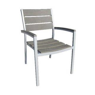 Florida πολυθρόνα αλουμινίου γκρι στοιβαζόμενη με ξύλο polywood γκρι χρώμα