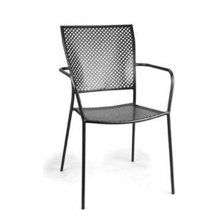Ismir πολυθρόνα μεταλλική στοιβαζόμενη σε καφέ και ανθρακί χρώμα