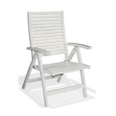 Ψηλόπλατη Πολυθρόνα 5 θέσεων ακακίας σε πατινέ λευκό χρώμα