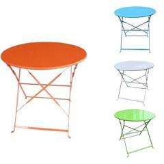 Αντικέ τραπέζι μεταλλικό Ø80cm στρογγυλό πτυσσόμενο σε 5 χρώματα