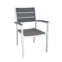 Sunset πολυθρόνα αλουμινίου λευκή στοιβαζόμενη με ξύλο polywood γκρι χρώμα