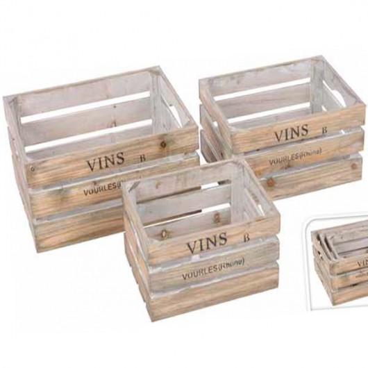 Καφάσια ξύλινα διακοσμητικά set/3 τεμάχια vins vourles