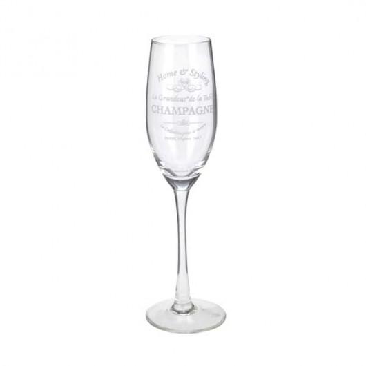 Γυάλινο ποτήρι σαμπάνιας με σχέδιο home & styling 5x15cm