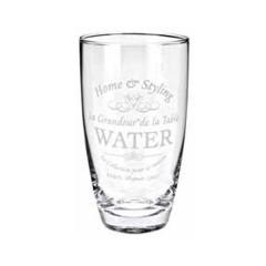 Γυάλινο ποτήρι νερού με σχέδιο home & styling 8x15cm