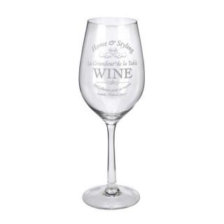Γυάλινο ποτήρι λευκού κρασιού με σχέδιο home & styling 7x26cm