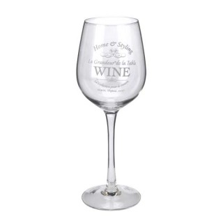 Γυάλινο ποτήρι κόκκινου κρασιού με σχέδιο home & styling 6x23cm