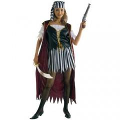 Πειρατίνα ριγέ φούστα με γιλέκο γυναικεία στολή ενηλίκων