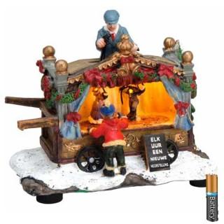 Φωτιζόμενο Σπιτάκι Μπαταρίας με Χριστουγεννιάτικη παράσταση κουκλοθέατρο
