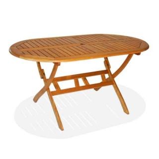 Οβάλ Πτυσσόμενο Τραπέζι βεράντας 150x85 cm από ξύλο ακακίας