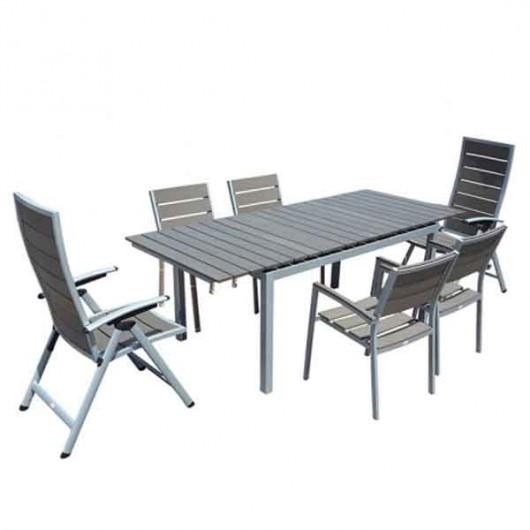 Florida τραπέζι αλουμινίου 164~216x92cm επεκτεινόμενο γκρι επιφάνεια polywood
