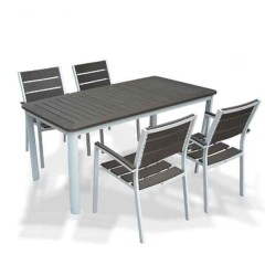 Sunset τραπέζι αλουμινίου 160x90cm σταθερό λευκό χρώμα και επιφάνεια polywood γκρι