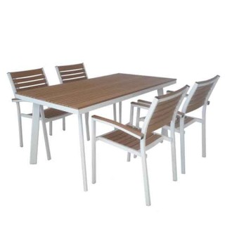 Veneto τραπέζι αλουμινίου 150x80cm λευκό χρώμα και επιφάνεια polywood φυσικό χρώμα