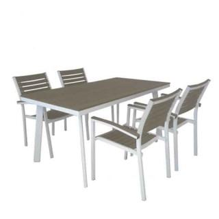 Veneto τραπέζι αλουμινίου 150x80cm λευκό χρώμα και επιφάνεια polywood γκρι