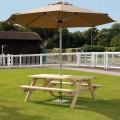 Worbun 6ft Τραπέζι εξοχής ξύλινο με ενσωματωμένους πάγκους μεγάλο
