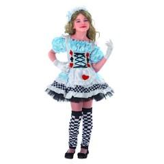 Αλίκη Στη Χώρα των Θαυμάτων στολή με κοντό φόρεμα για κορίτσια