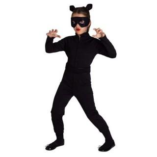 Cat Woman στολή Αγριόγατας για κορίτσια με μαύρη φόρμα αυτιά και μάσκα