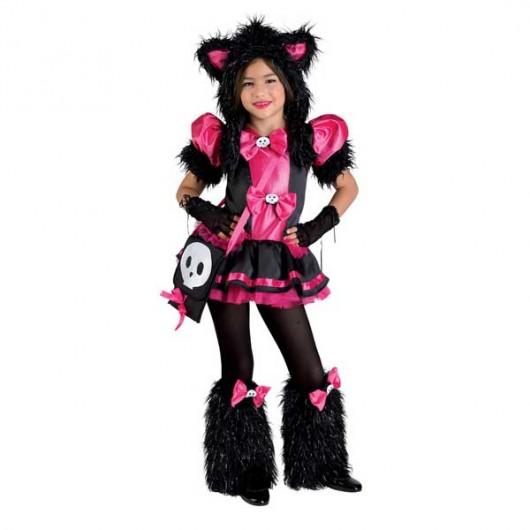 Funky Kitty στολή μοδάτης γάτας για κορίτσια με χνουδωτές γκέτες