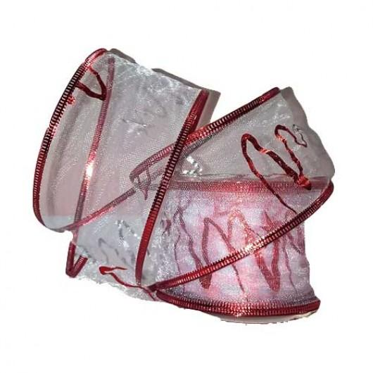 Κορδέλα 9m οργάντζα λευκή με κόκκινα στολίσματα