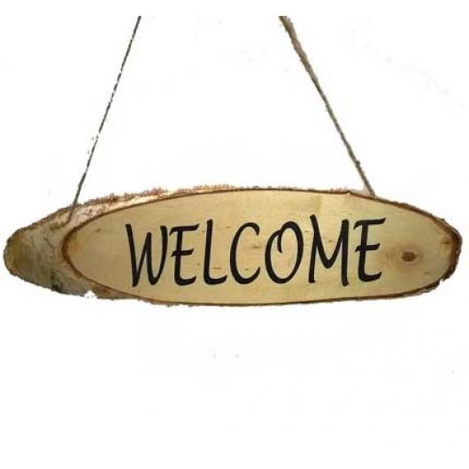 Πινακίδα από κορμό Welcome 48cm