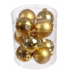Σετ Γυάλινες Χρυσές Μπάλες 12 Τμχ. 8cm