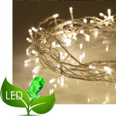 80 Λαμπάκια LED Επεκτεινόμενα Διάφανο καλώδιο με Θερμό Λευκό λαμπάκι