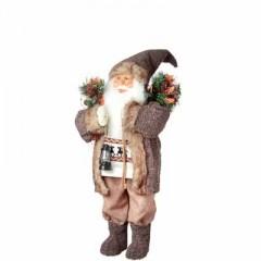 Άγιος Βασίλης 40cm με καφέ παλτό