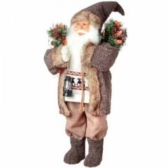 Άγιος Βασίλης 80cm με καφέ παλτό