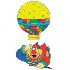 Ντεκόρ Τοίχου Ιπτάμενος Κλόουν με αερόστατο