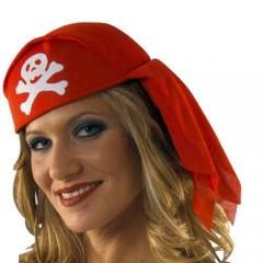 Καπέλο Πειρατή μαντήλι σε κόκκινο και μαύρο χρώμα