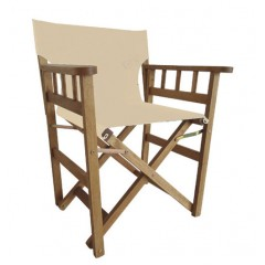 Σκηνοθέτη Πολυθρόνα ξύλινη santorini με πλαϊνό κάγκελο και εκρού πανί