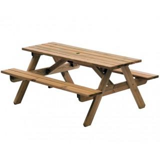 Worbun 5ft Τραπέζι εξοχής ξύλινο με ενσωματωμένους πάγκους
