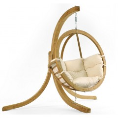 Κρεμαστή αιώρα πολυθρόνα globo ξύλινη με βάση και μαξιλάρι