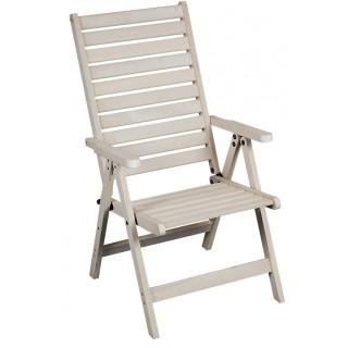 Apollo λευκή πολυθρόνα 5 θέσεων με ψηλή πλάτη από ξύλο οξιάς