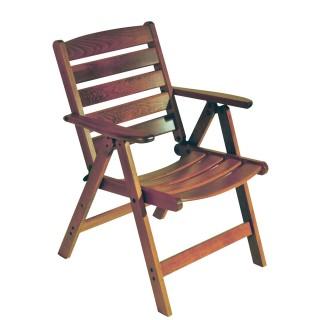 Πολυθρόνα ξύλινη οξιάς 3 θέσεων με χαμηλή κοίλη πλάτη καρυδί
