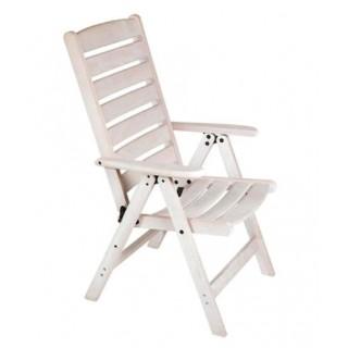 Πολυθρόνα ξύλινη οξιάς 5 θέσεων με Ψηλή κοίλη πλάτη λευκή