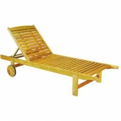 Ξαπλώστρα πισίνας ξύλινη με ρόδες ακακίας