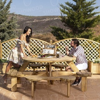 Ξύλινο τραπέζι - πάγκος πικ νικ 8 θέσεων