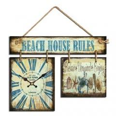 """Ρολόι  με Πινακίδα """"Beach House Rules"""""""
