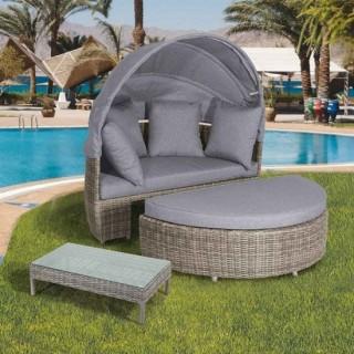 Compact daybed καθιστικό από wicker με σκελετό αλουμινίου γκρι