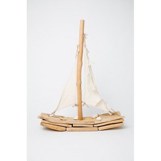 Βάρκα διακ/κή 34Χ10Χ44cm ξύλινη με σχοινί φυσικό χρωμα