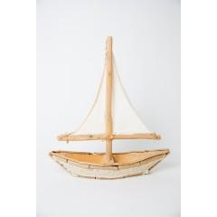 Βάρκα διακ/κή 38χ12χ43cm ξύλινη με σχοινί φυσικό λευκό χρωμα