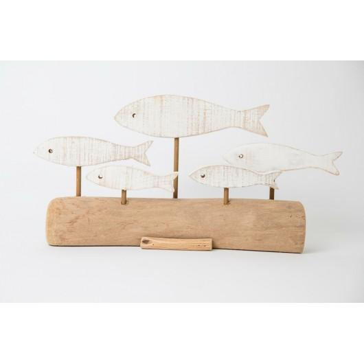 Διακοσμητικό-39χ9χ19cm-5-ψαράκια-λευκά-σε-ξύλο-φυσικό-χρώμα