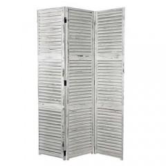 Ξύλινο παραβάν με γρίλιες Λευκό 120x180cm