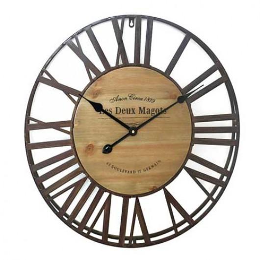 Ρολόι τοίχου rustic με μεταλλικά Λατινικά νούμερα 61cm