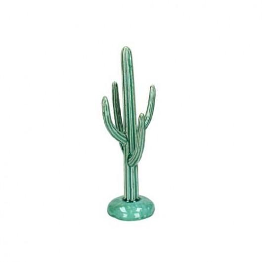 Διακοσμητικός κάκτος stoneware πετρόλ χρώμα 19cm