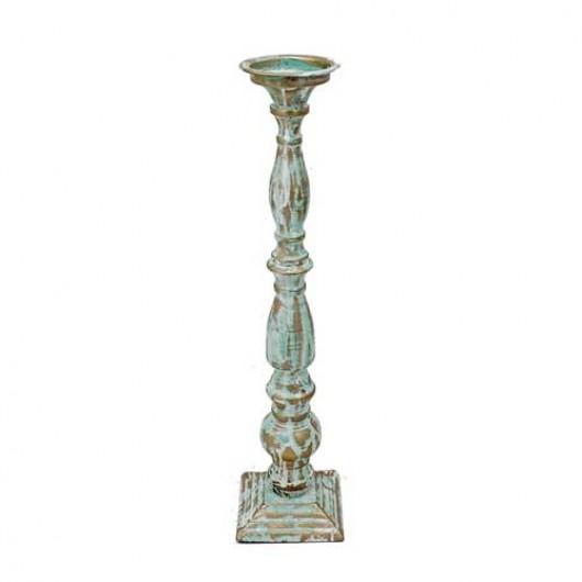 Μεταλλικό κηροπήγιο τυρκουάζ με χρυσή πατίνα 41cm